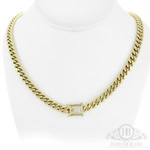 Harlembling 14k Gold Diamond Clasp Stainles Chain